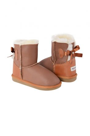 Pegia Kids From Genuine Suede And Sheepskin Fur With Bow 181063 Ginger