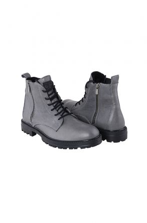 Pegia Shoelaced Genuine Leather & Shearling Men's Boots 206001 Gray