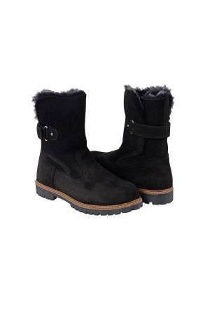 Pegia Genuine Nubuck & Shearling Women's Boots With Fastener 500303-2 Black