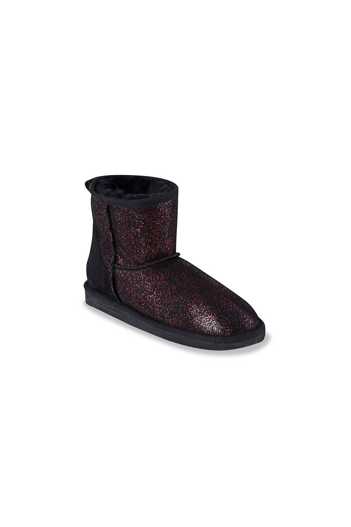 Pegia Short Women Boots From Genuine Sheepskin Fur With Galaxy Sequins 191029 Claret red