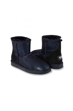 Pegia Short Women Boots From Genuine Sheepskin Fur With Galaxy Sequins 191029 Navy blue