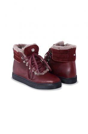 Pegia Genuine Leather & Shearling Laced Women's Boots 197003 Claret red