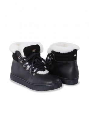 Pegia Genuine Leather & Shearling Laced Women's Boots 197003 Black