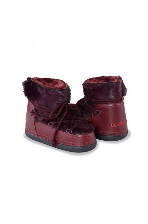 Cool Moon Moonboots From Genuine Sheepskin With Toscana Fur Claret red