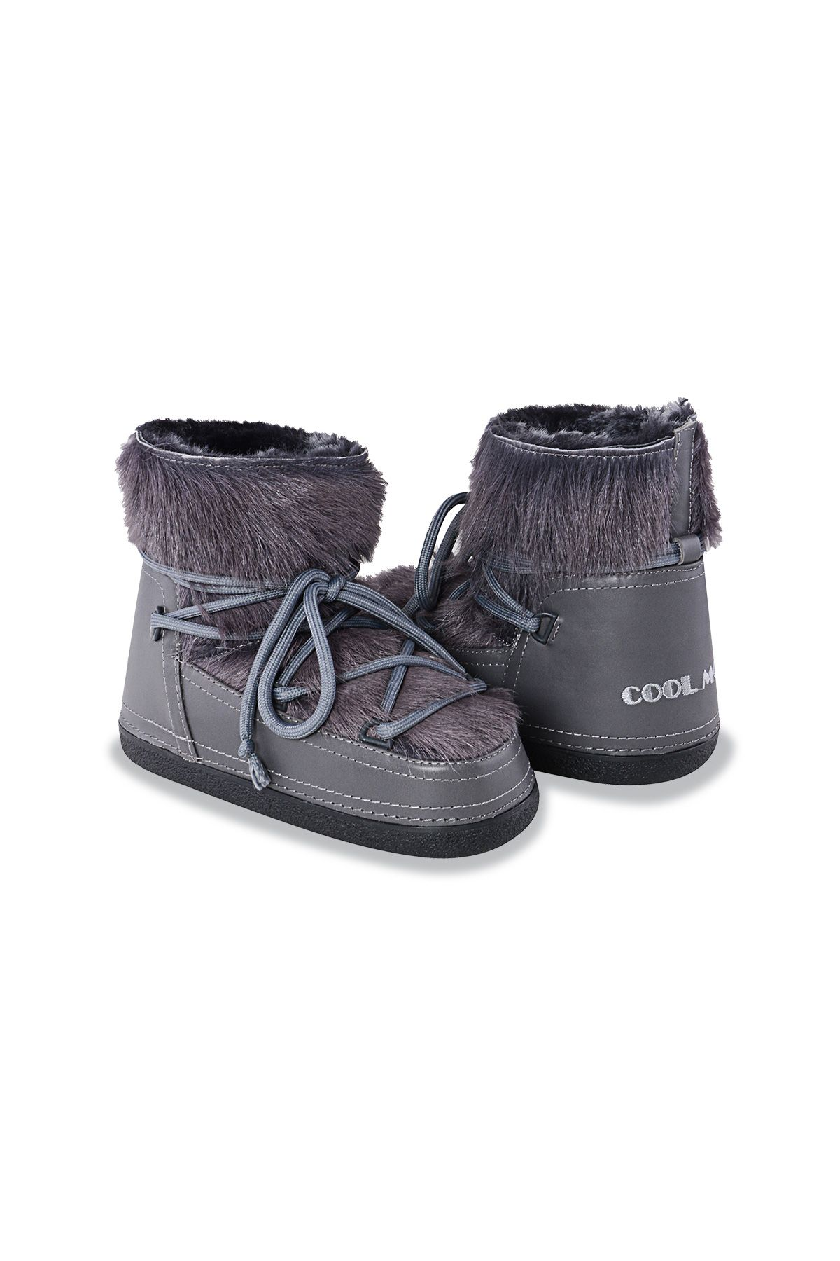 Cool Moon Moonboots From Genuine Sheepskin With Toscana Fur Gray
