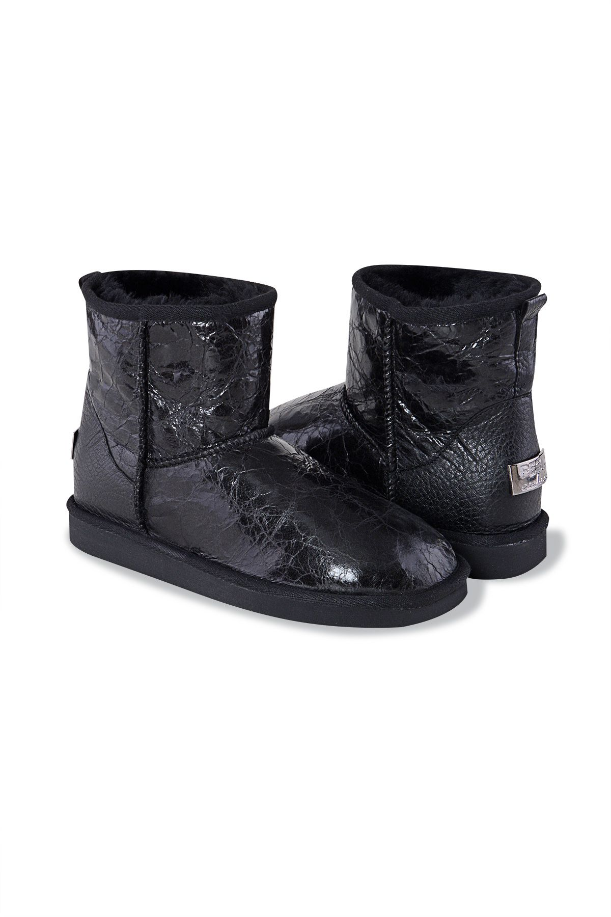 Pegia Short Women's Boots With Pattern 191044 Black