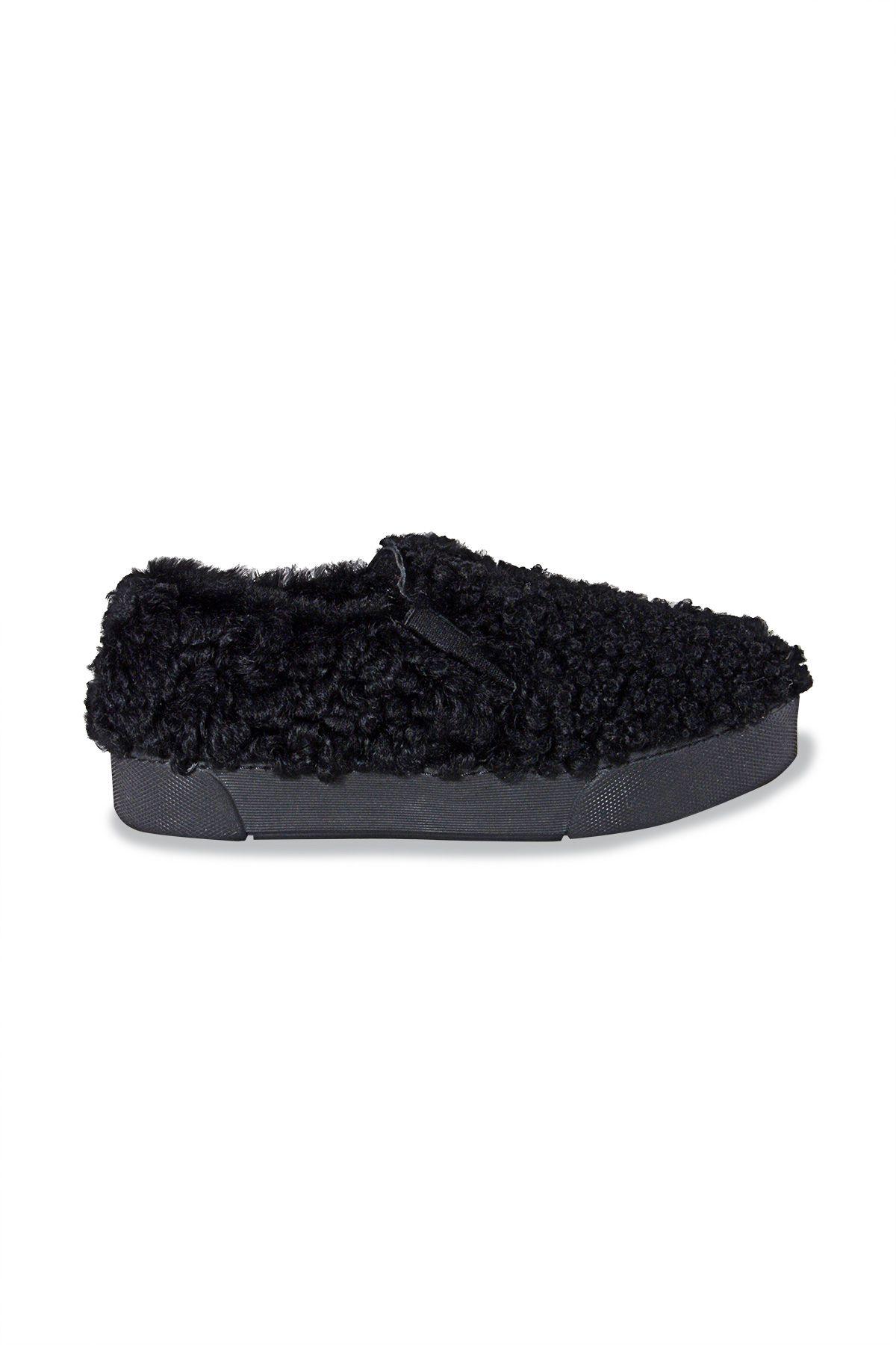 Pegia Hakiki Kürklü Bayan Sneaker 659524 Siyah