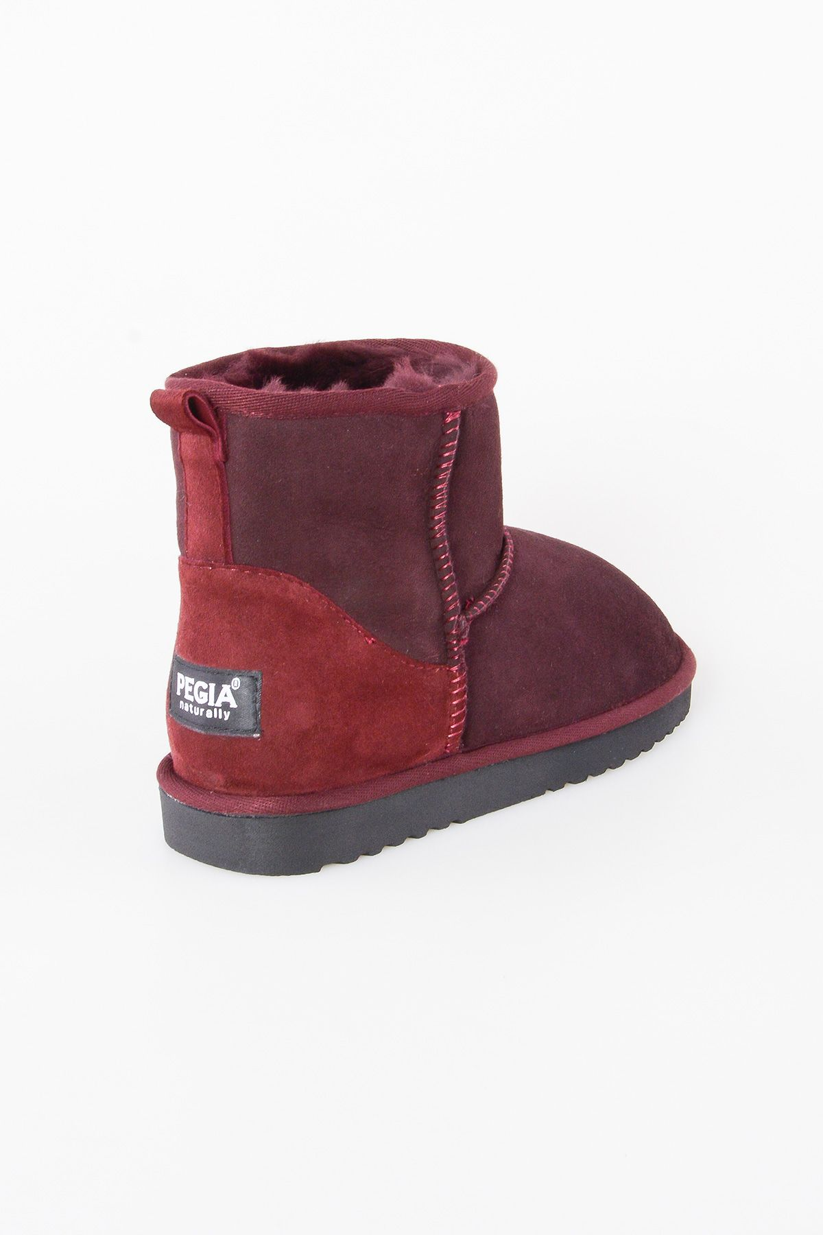Pegia Short Women Boots From Genuine Suede And Sheepskin Fur 191021 Claret red