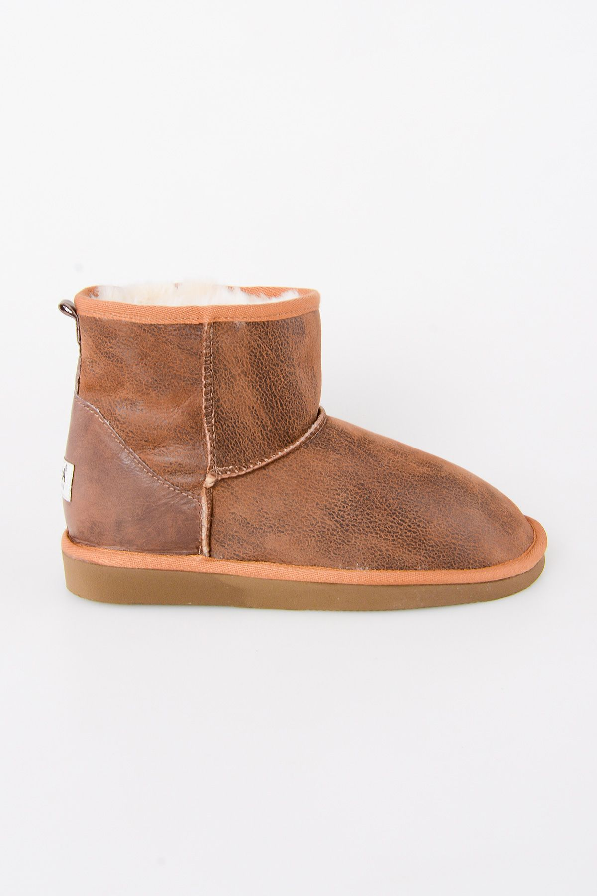 Pegia Genuine Leather & Shearling Short Women's Boots 980405 Ginger