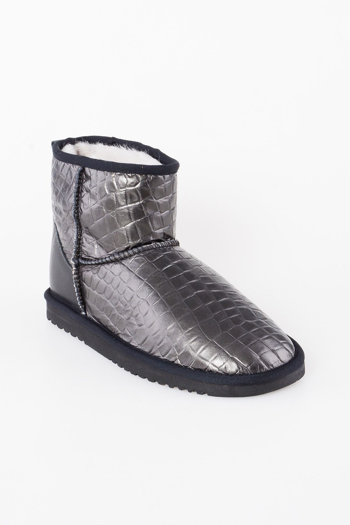 Pegia Genuine Leather & Shearling Short Women's Boots With Crocodile Pattern 980412 Black