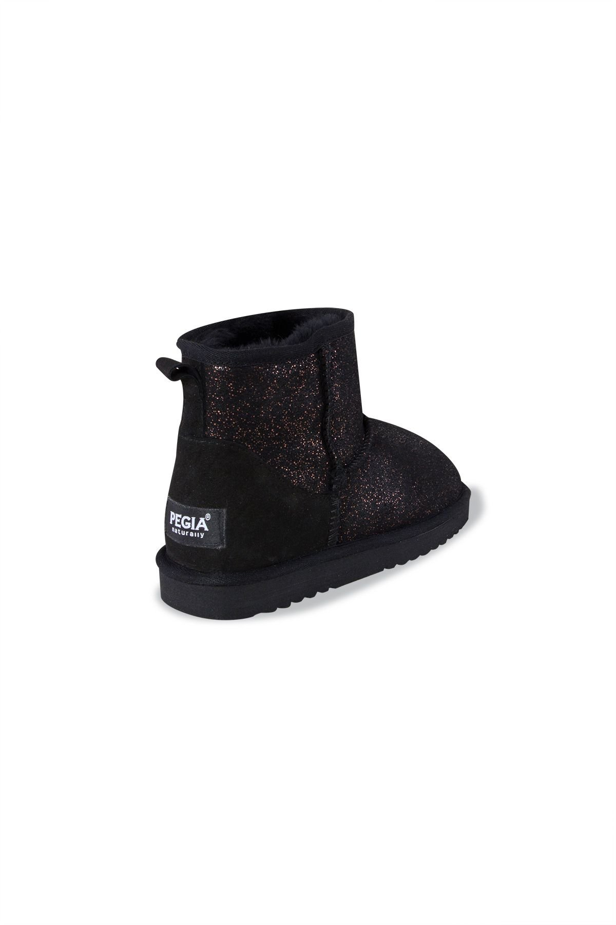 Pegia Genuine Leather & Shearling Glossy Short Women's Boots 980410 Black