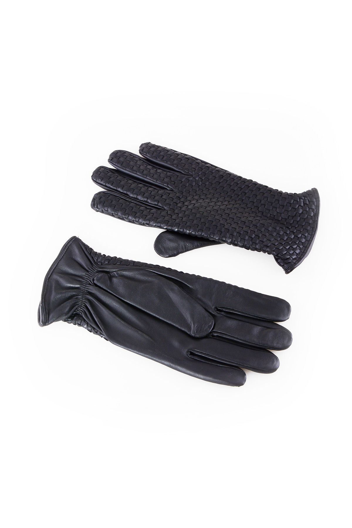 Pegia Men's Braided Leather Gloves 19EE02 Black