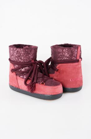 Cool Moon Women Moonboots From Genuine Sheepskin Fur With Flower Pattern 351002 Claret red