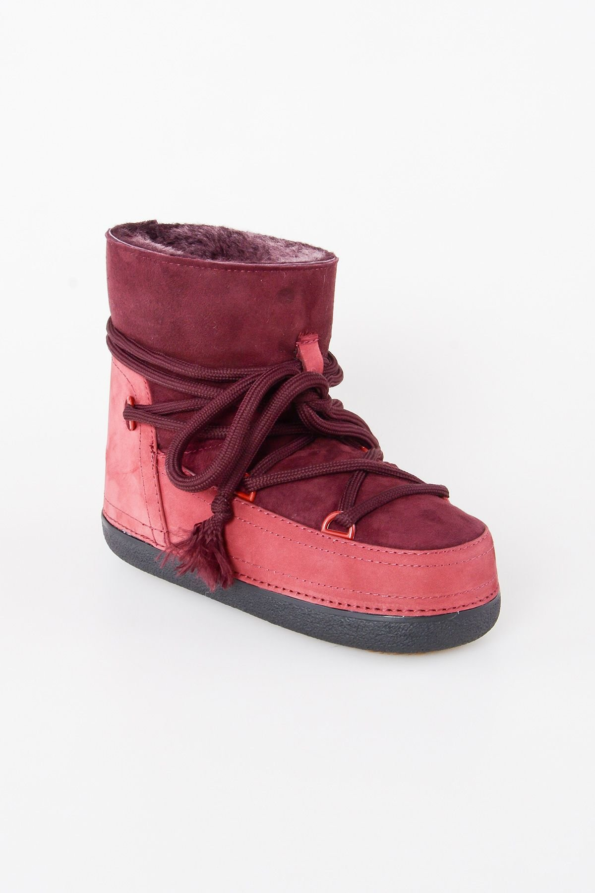 Cool Moon Genuine Suede & Shearling Women's Snowboots 251016 Claret red