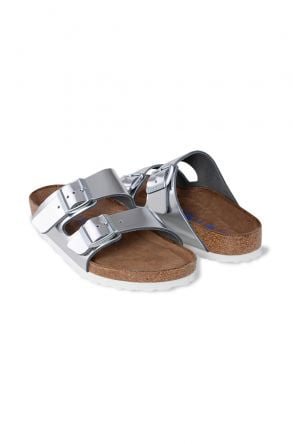 Birkenstock Arizona BS Genuine Leather Women's Summer Slippers 1005960 Silver