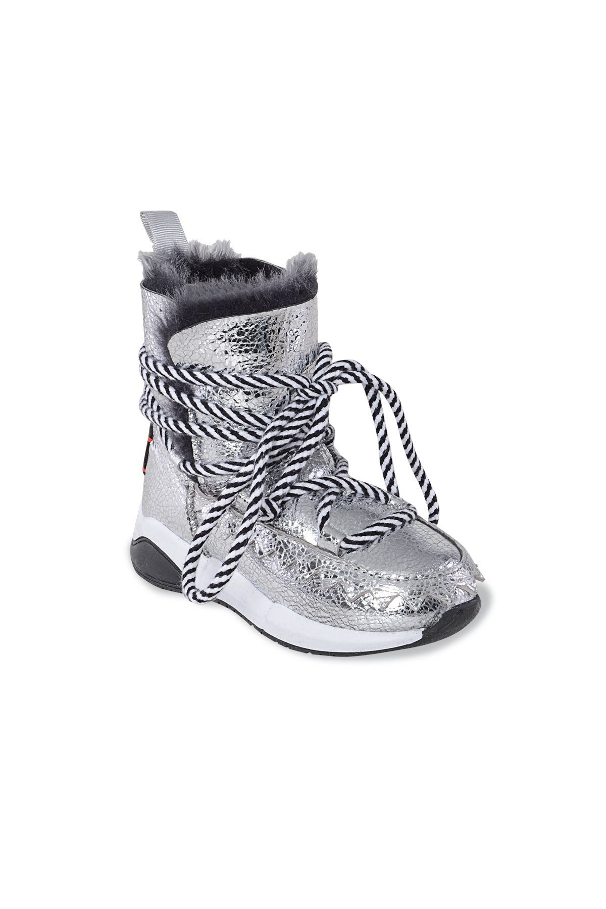 Pegia Genuine Shearling Kids' Boots With Pattern 185017 Silver