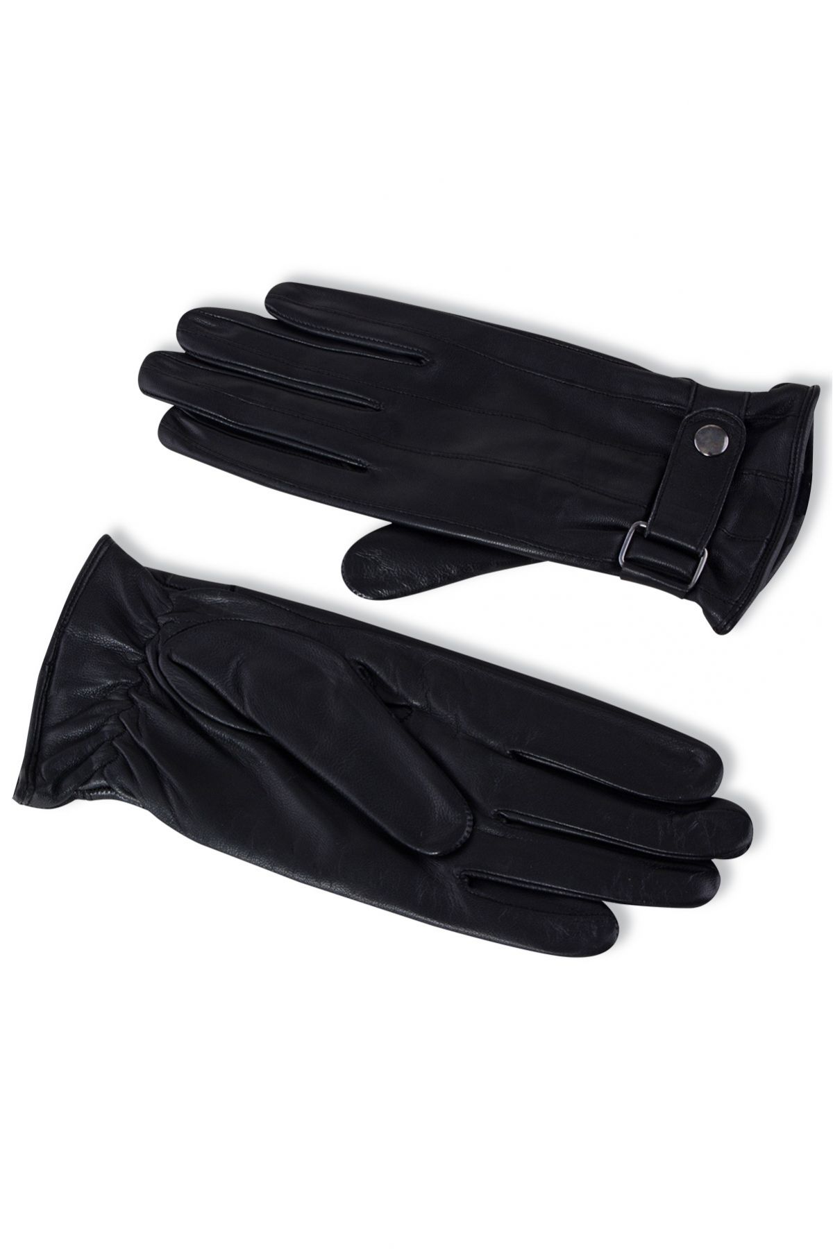 Pegia Men's Leather Gloves Decorated With Strap 19EE03 Black