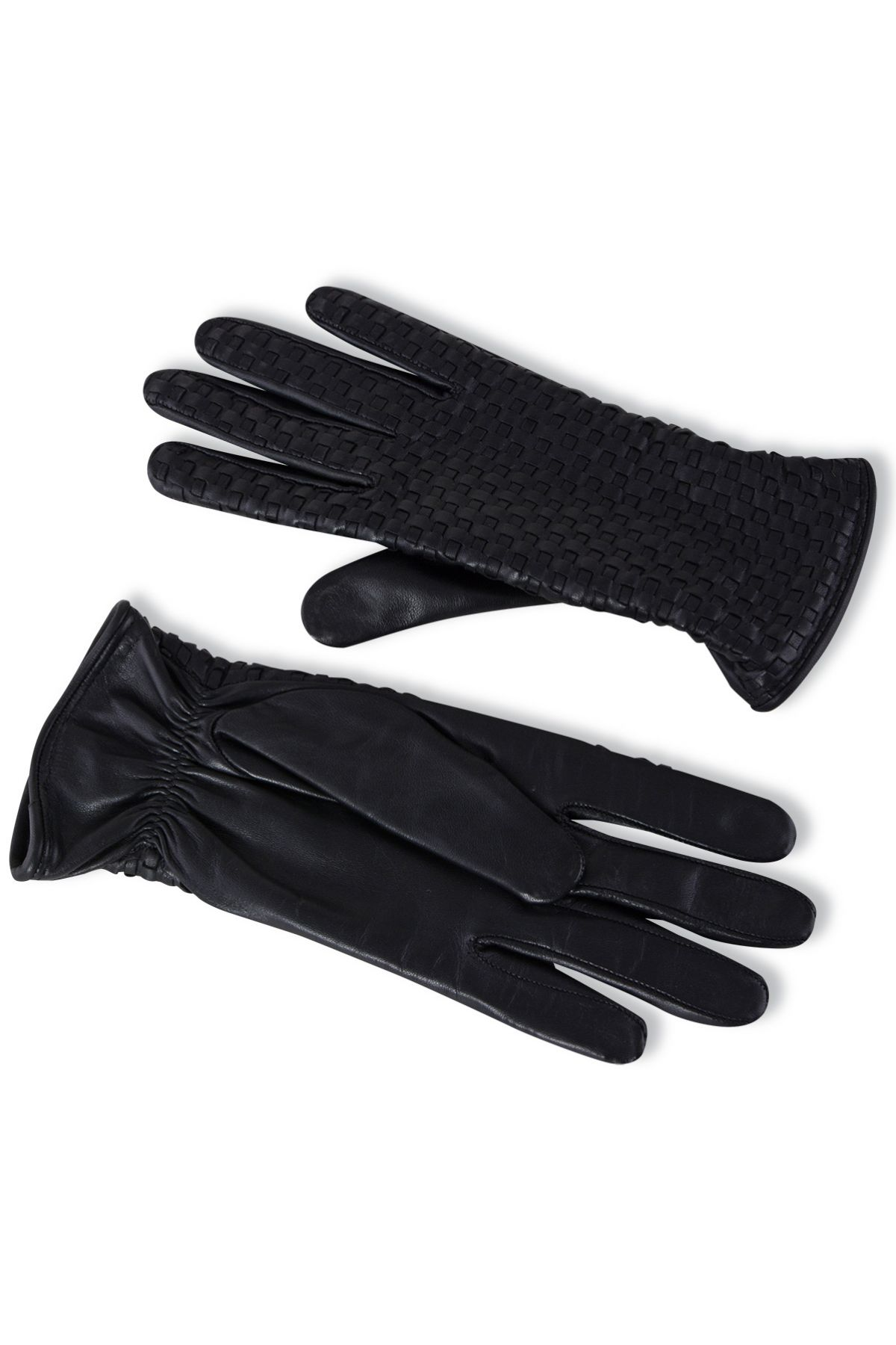 Pegia Women's Braided Leather Gloves 19EK02 Black