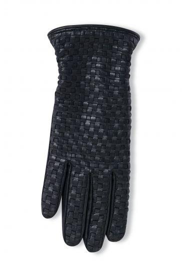 Pegia Women's Braided Leather Gloves 19EK02 Black