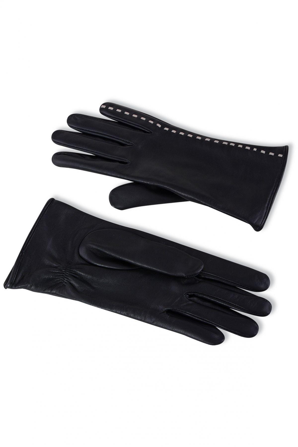 Pegia Women's Leather Gloves With Stripe Pattern 19EK03 Black