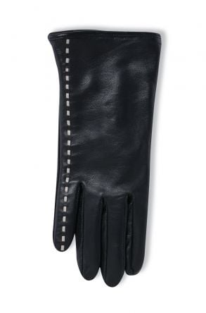 Pegia Women's Leather Gloves With Stripe Pattern 19EK03 Black