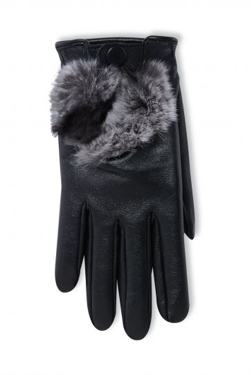 Pegia Women's Leather Gloves With Rex Detail 19EK04 Black