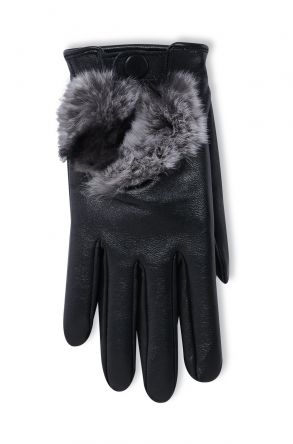 Pegia Women's Leather Gloves With Rex Detail 19EK04 Black