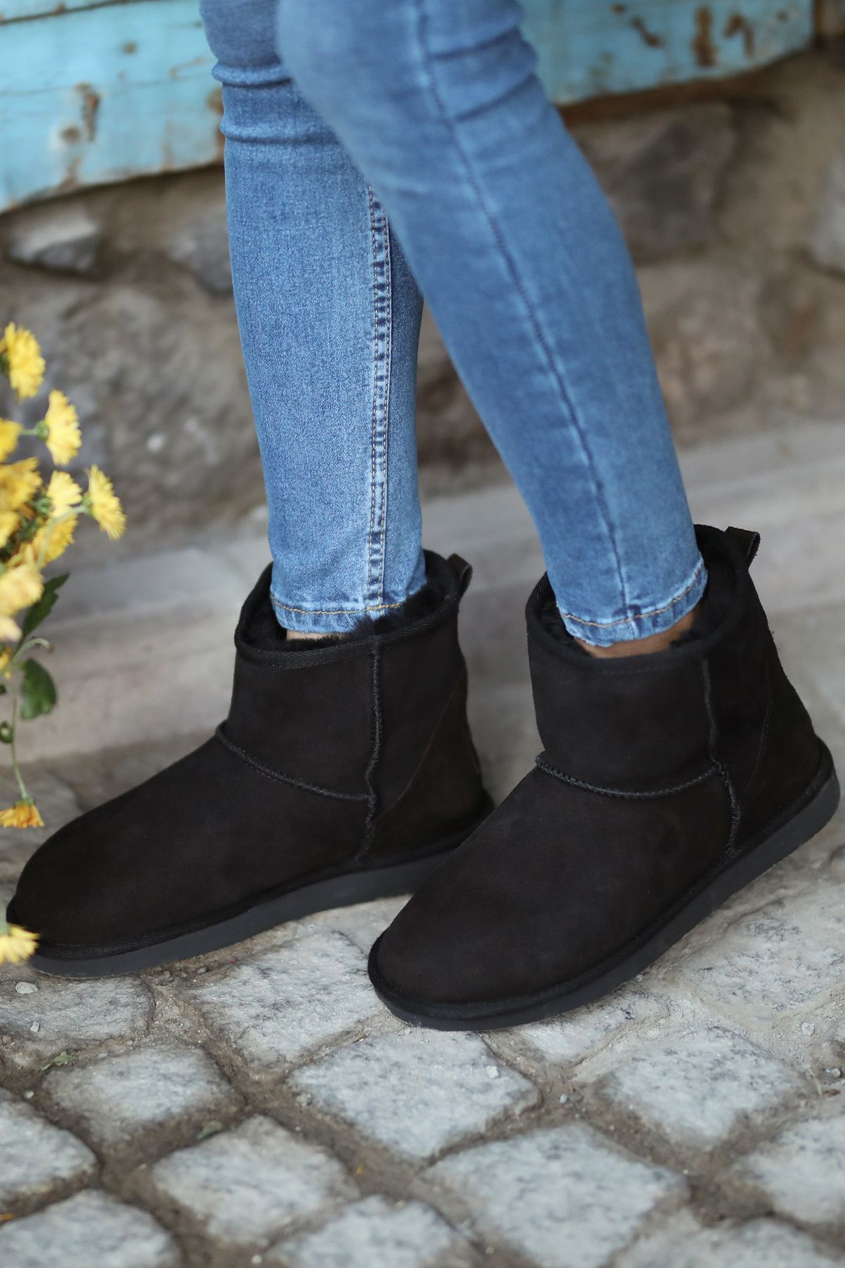 Pegia Short Women Boots From Genuine Suede And Sheepskin Fur 191021 Black