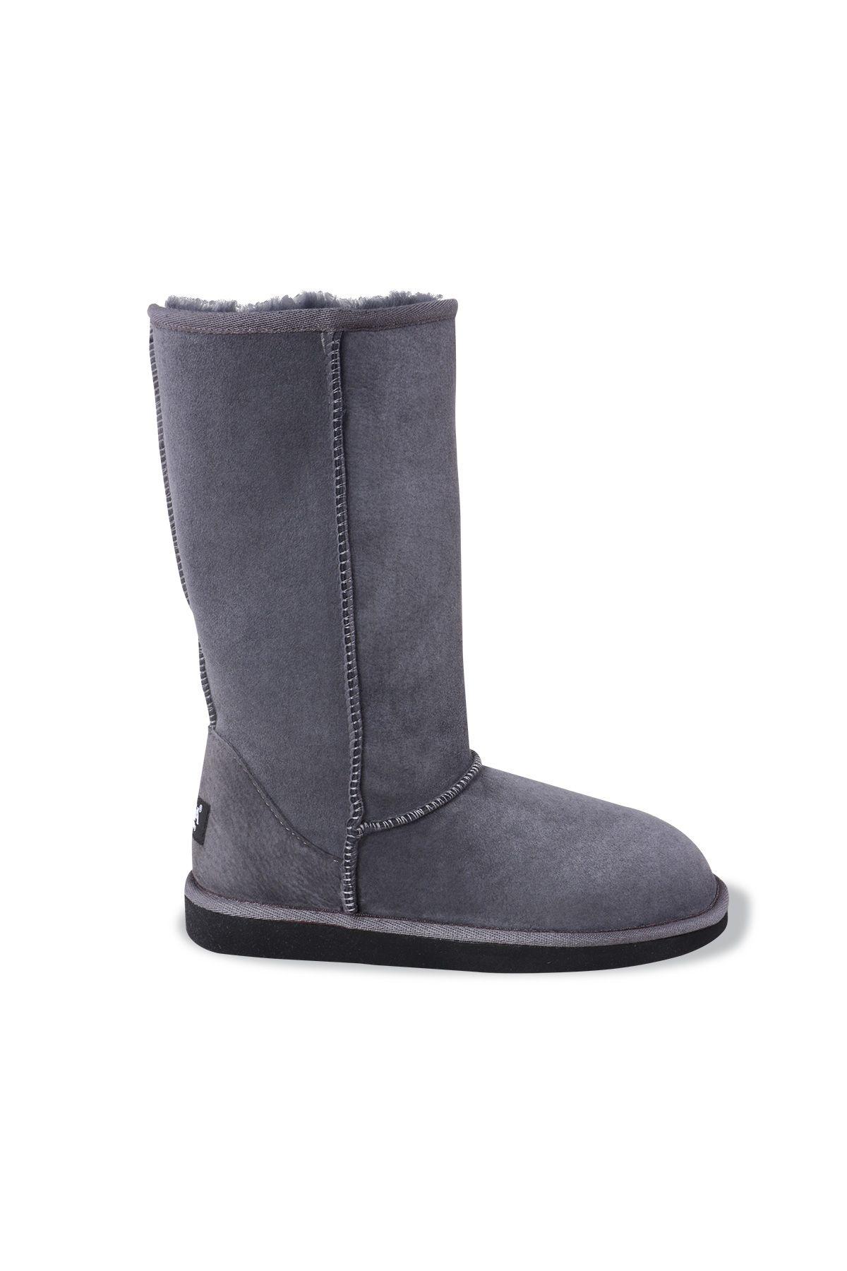 Pegia Long Genuine Suede & Shearling Women's Boots 191001 Gray