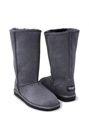 Pegia Long Genuine Suede & Shearling Women's Boots 191001 Gray