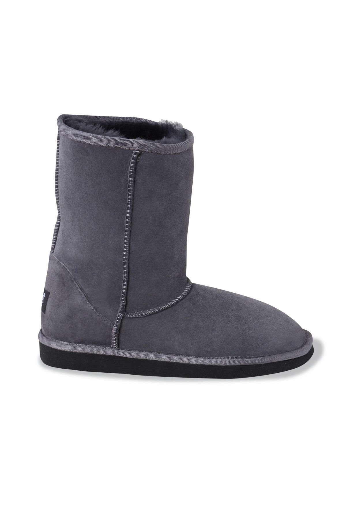 Pegia Classic Women Boots From Genuine Suede And Sheepskin Fur Gray
