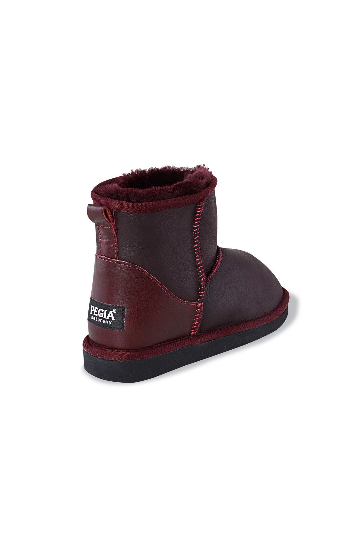 Pegia Short Women Boots From Genuine Leather And Sheepskin Fur 191022 Claret red