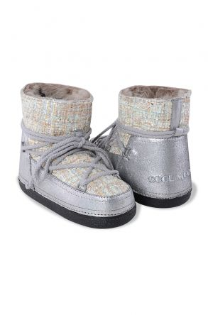 Cool Moon Genuine Leather & Shearling Women's Snowboots 251018 Silver