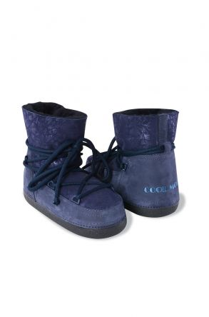 Cool Moon Women Moonboots From Genuine Sheepskin Fur With Flower Pattern 351002 Navy blue