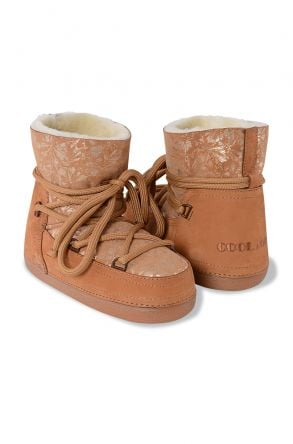 Cool Moon Women Moonboots From Genuine Sheepskin Fur With Flower Pattern 351002 Ginger
