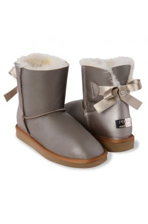 Pegia Genuine Leather & Shearling Women's Boots With A Bow 191064 Visone