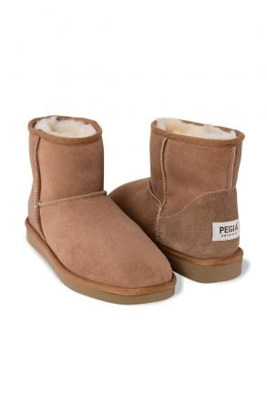 Pegia Short Women Boots From Genuine Suede And Sheepskin Fur 191021 Sand-colored
