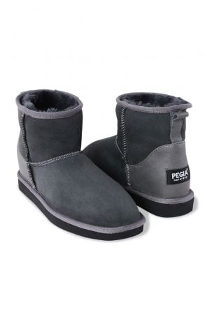 Pegia Genuine Suede & Shearling Short Women's Boots 980413 Gray