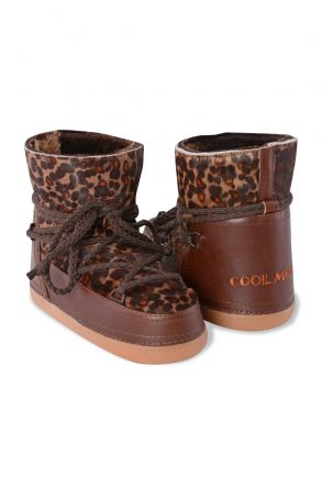 Cool Moon Genuine Leather Women's Snowboots With Leopard Pattern 251019 Brown