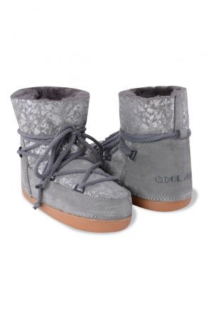 Cool Moon Women Moonboots From Genuine Sheepskin Fur With Flower Pattern 351002 Gray