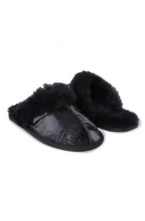 Pegia Genuine Leather & Shearling Women's Slippers 191102 Black