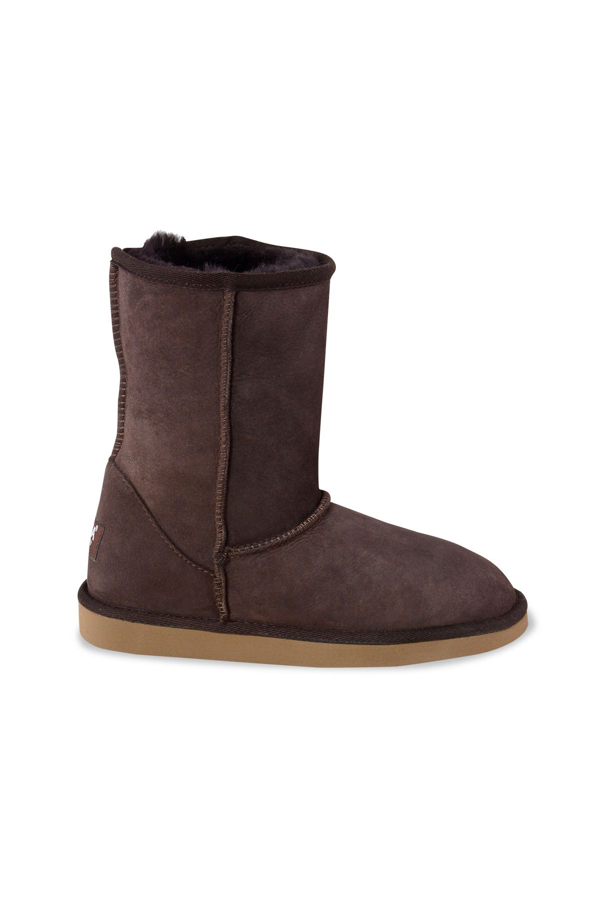 Pegia Classic Women Boots From Genuine Suede And Sheepskin Fur Brown