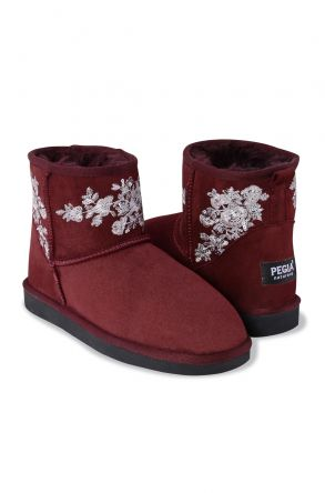 Pegia Genuine Suede & Shearling Women's Boots With Flower Braid 191073 Claret red
