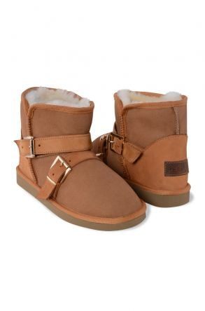 Pegia Women Boots From Genuine Suede And Sheepskin Fur Decorated With Belt 191081 Ginger