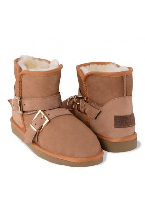 Pegia Genuine Suede & Shearling Women's Boots With Strap 191082 Ginger