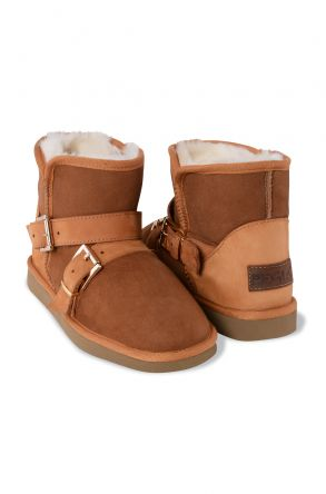Pegia Genuine Suede & Shearling Women's Boots With Strap 191083 Ginger