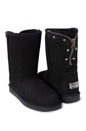 Pegia Zipped Women Boots From Genuine Suede And Sheepskin Fur Black