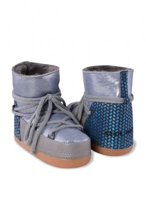 Cool Moon Genuine Leather & Shearling Women's Snowboots 251022 Gray