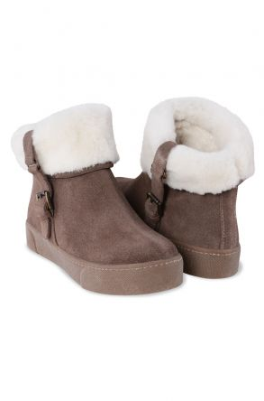 Cool Moon Genuine Leather & Shearling Short Women's Boots 980414 Visone