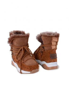 Pegia Laced Genuine Shearling Kids' Boots 185011 Ginger